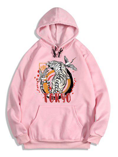 Animal Tiger Crane Print Oriental Fleece Hoodie - Pig Pink L
