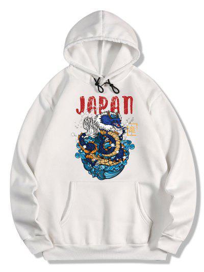 Dragon Letter Print Oriental Fleece Hoodie - White 2xl