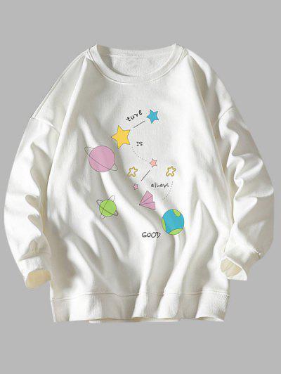 Stern Planet Sweatshirt Mit Rundhalsausschnitt - Weiß M