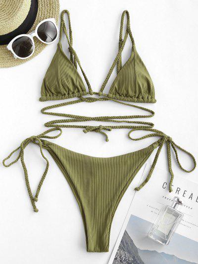 ZAFUL Ribbed Braided Strap Tie Side String Bikini Swimwear - Green M