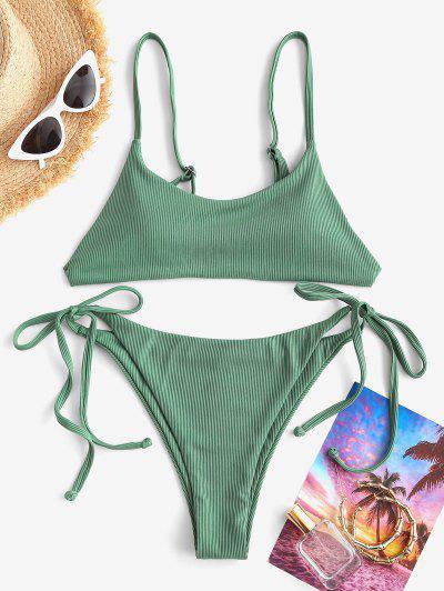 ZAFUL Tie Side Ribbed Plain String Bikini Swimwear - Green M