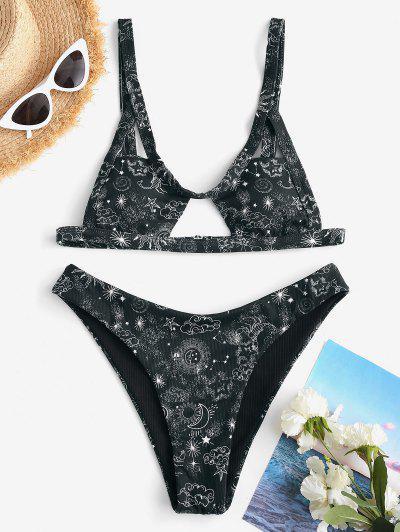 ZAFUL Gerippter Sonnen Mond Stern Constellation Bikini Badebekleidung Mit Ausschnitt - Schwarz S