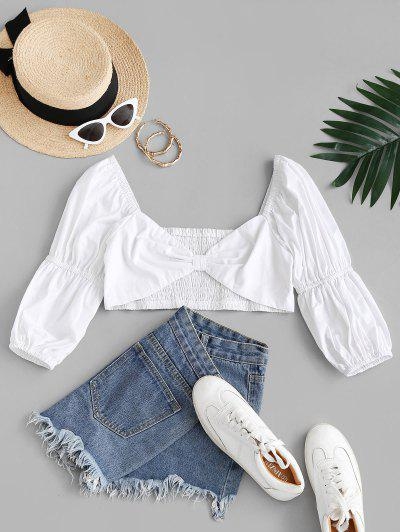 Smocked Knotted Sweetheart Crop Blouse - White M