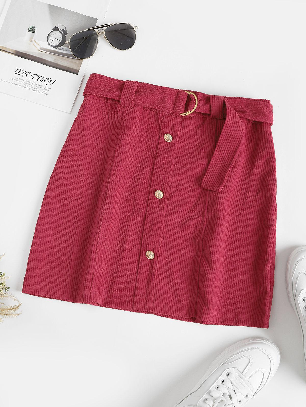 Metallic Button Belted Corduroy Mini Skirt