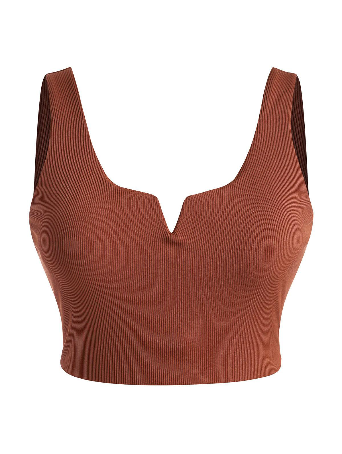 ZAFUL Plus Size Ribbed V-wired Bikini Top