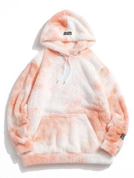 affordable Tie Dye Fluffy Front Pocket Hoodie - LIGHT YELLOW S