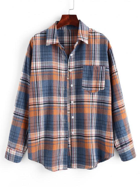 Plaid Pockets Boyfriend Shirt - أزرق L