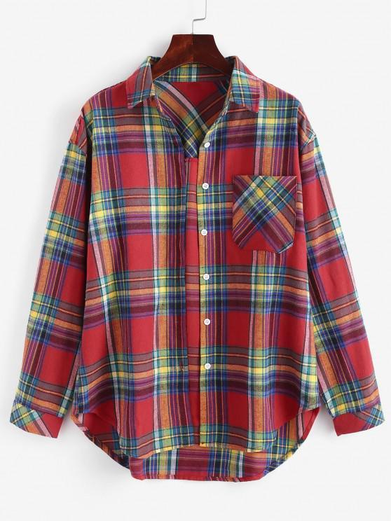 Plaid Button Up Pockets Shirt - أحمر XL