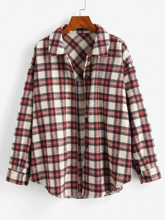 Boyish Checked Wool Blend Coat - أحمر عميق S