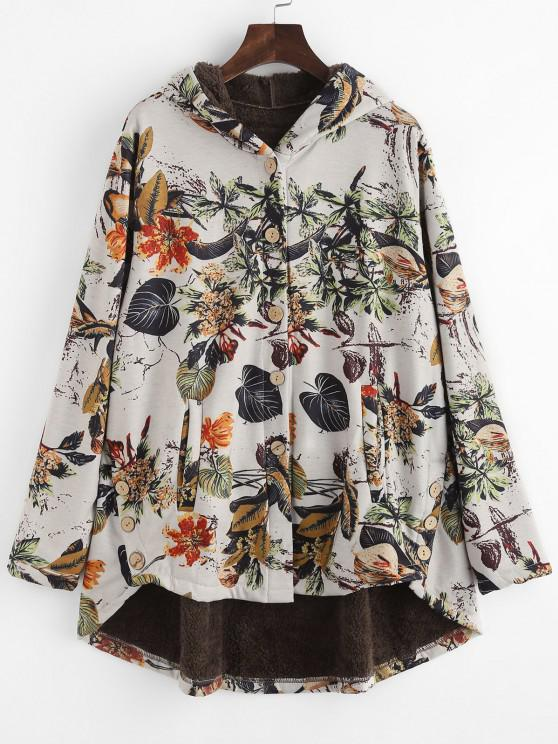 Faux Fur Lined Leaves Print High Low Coat - متعدد S