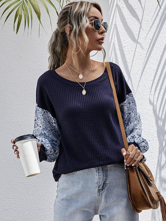 chic Textured Ditsy Floral Panel Drop Shoulder Top - DEEP BLUE XL