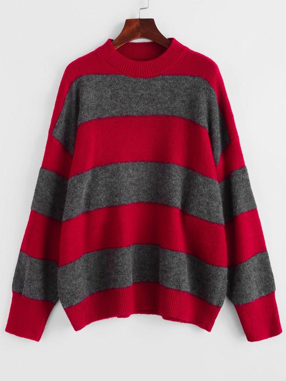 Jersey de Hombro Caído de Bloque de Color - Rojo Talla única