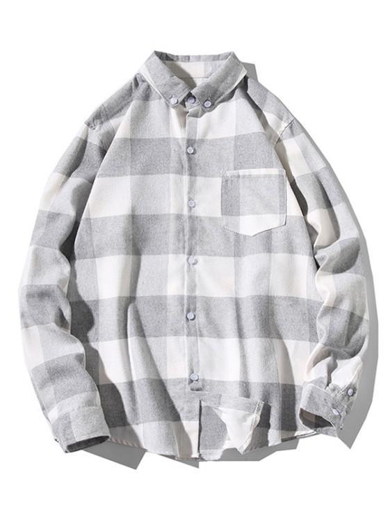 women's Long Sleeve Plaid Pocket Patch Shirt - LIGHT GRAY XS