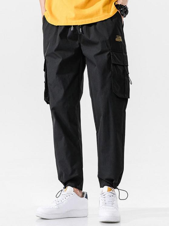 ladies Side Flap Pocket Letter Patch Pants - BLACK XL