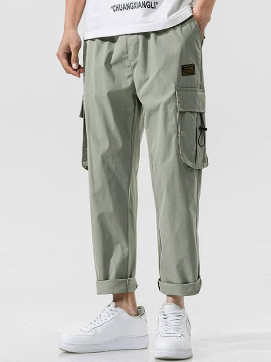 Side Flap Pocket Letter Patch Pants - اخضر فاتح S