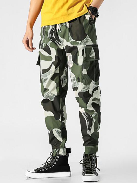 Camouflage Print Pocket Cargo Pants - التمويه الأخضر M