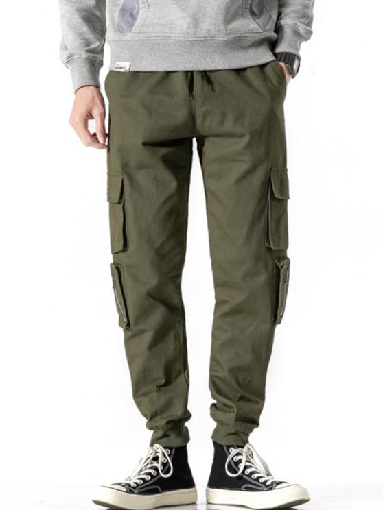 Zipper Decoration Multi Pockets Cargo Pants - الجيش الأخضر L