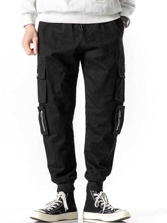 Zipper Decoration Multi Pockets Cargo Pants - أسود XS