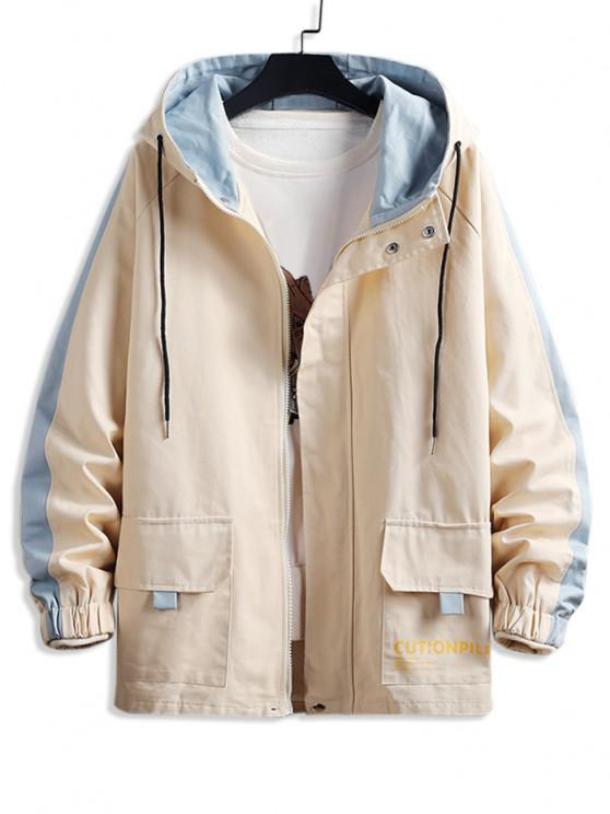 sale Raglan Sleeve Colorblock Letter Hooded Jacket - BEIGE M