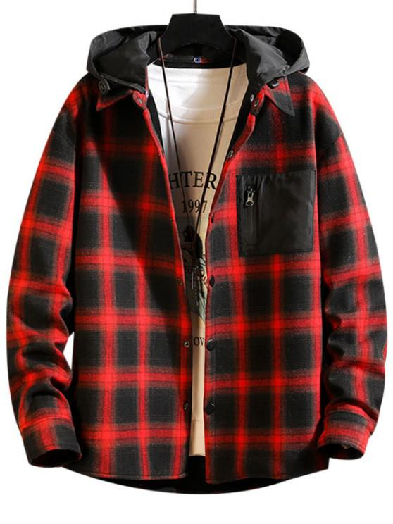 Plaid Plush Lined Colorblock Hooded Shirt Jacket - أحمر S