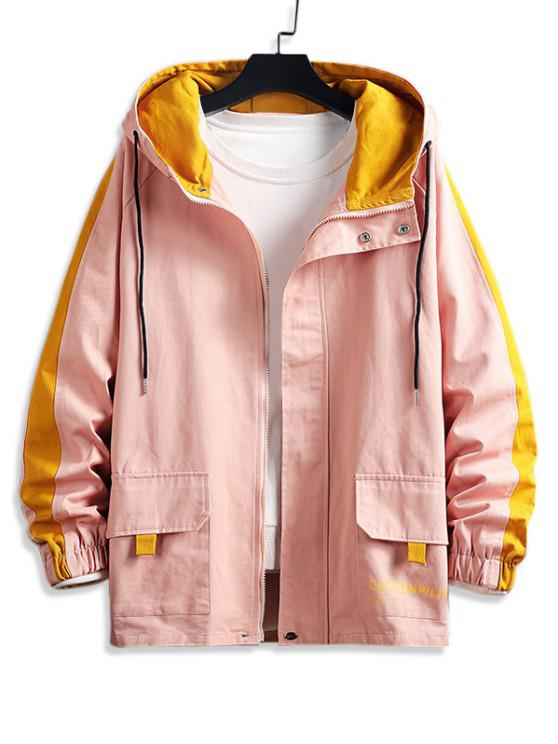 lady Raglan Sleeve Colorblock Letter Hooded Jacket - PINK XL