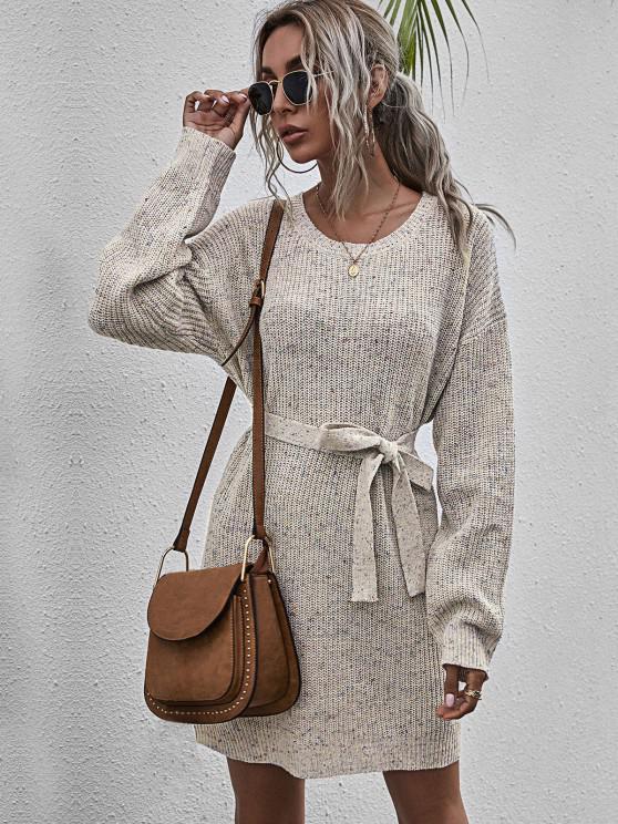 Mini Vestido Jersey Entretejido y Cinto - Multicolor-A L