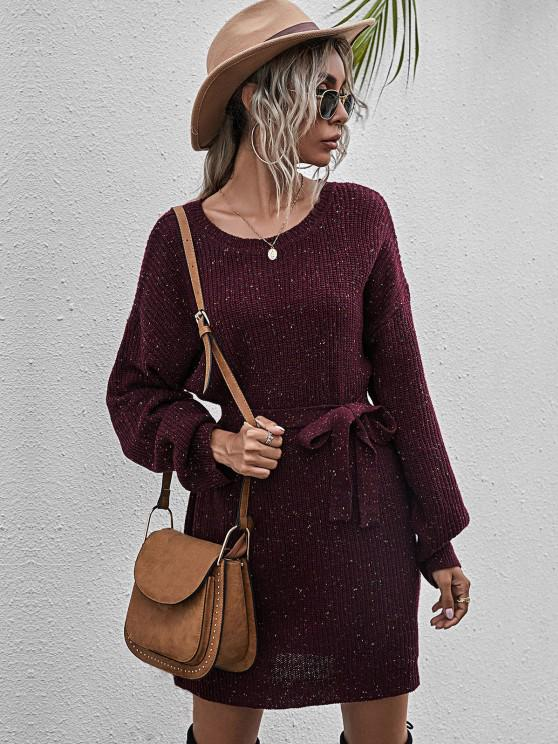 hot Belted Heathered Mini Sweater Dress - RED WINE M