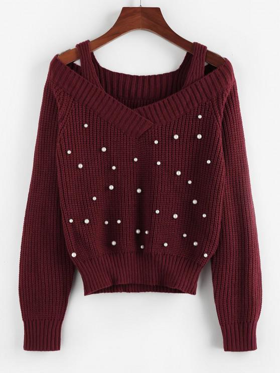 ZAFUL Schulterfrei Ausschnitt Pullover - Tiefrot L
