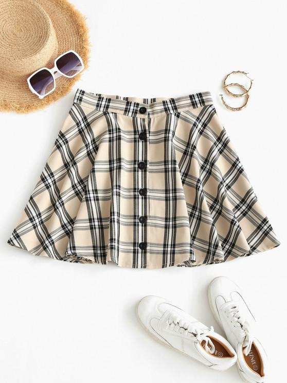 trendy Plaid Button Fly A Line Skirt - LIGHT COFFEE M