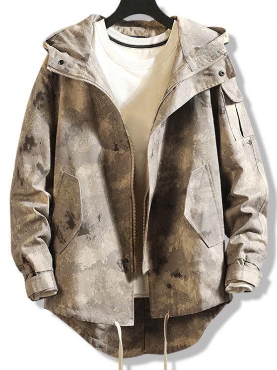 trendy High Low Multi-pocket Hooded Jacket - DIGITAL DESERT CAMOUFLAGE XS