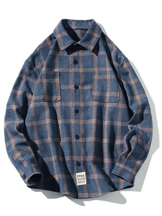 chic Plaid Letter Patched Long Sleeve Shirt - DARK SLATE BLUE XL