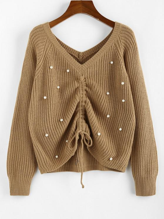 new ZAFUL Beading Cinched Raglan Sleeve V Neck Sweater - LIGHT COFFEE S