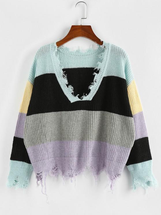 Maglione Strappato a Blocchi di Colore con Scollo a V di ZAFUL - Multi Colori-M L