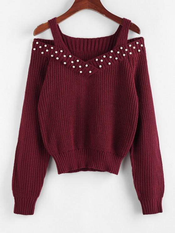 ZAFUL Künstliche Perle Verschönerter Pullover mit Offener Schulter - Tiefrot L