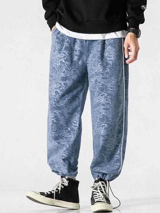 Calças de Camuflagem com Impressão de Pés Apertados - Seda de Azul M