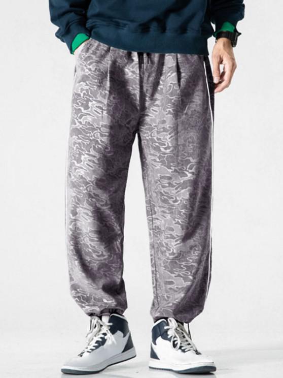 Pantalon Camouflage Imprimé à Pieds Etroits - Nuage Gris 3XL