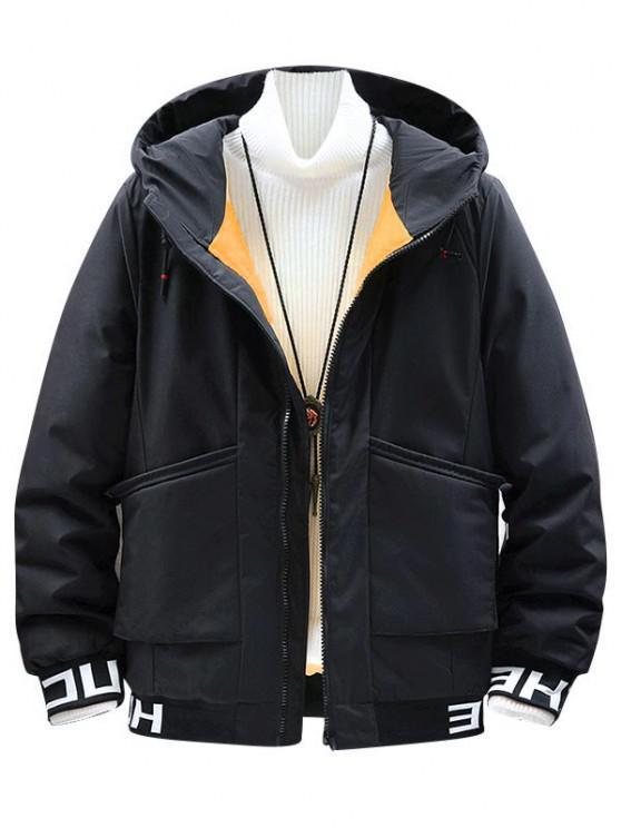 fancy Hooded Letter Print Colorful Lines Detail Padded Jacket - BLACK M