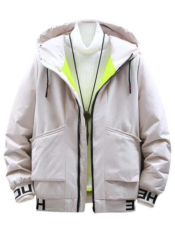 online Hooded Letter Print Colorful Lines Detail Padded Jacket - WHITE S