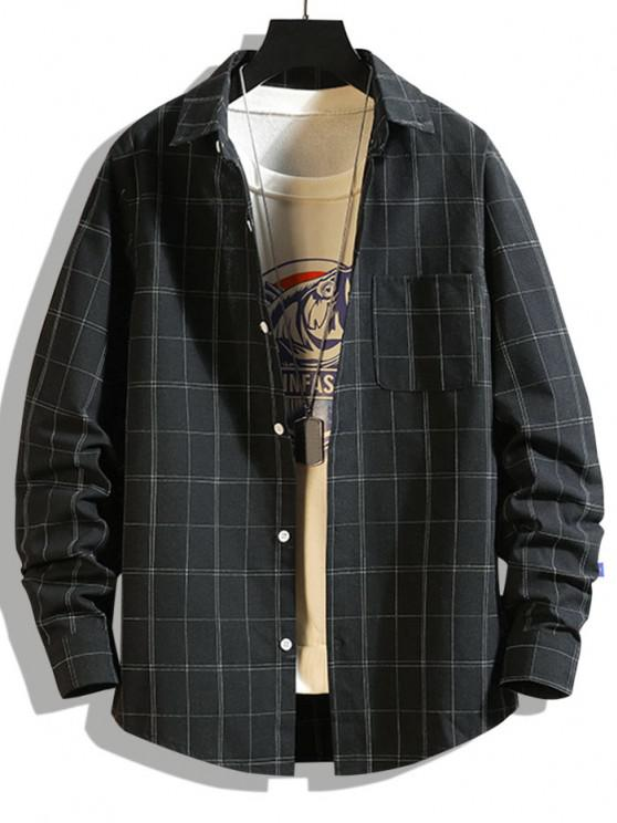 women Windowpane Check Print Pocket Patch Shirt - BLACK XS