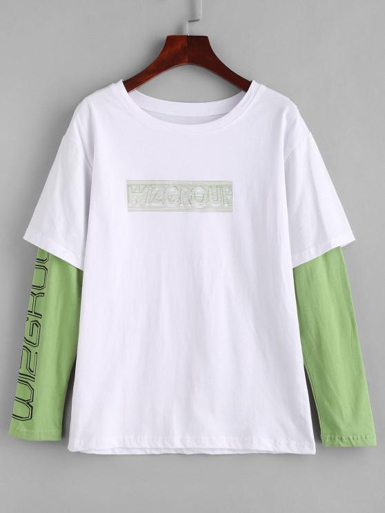trendy Letter Doctor Sleeve Twofer T Shirt - WHITE 2XL
