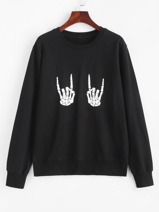 Camisa Pulôver com estampa dia das bruxas esqueleto - Preto S