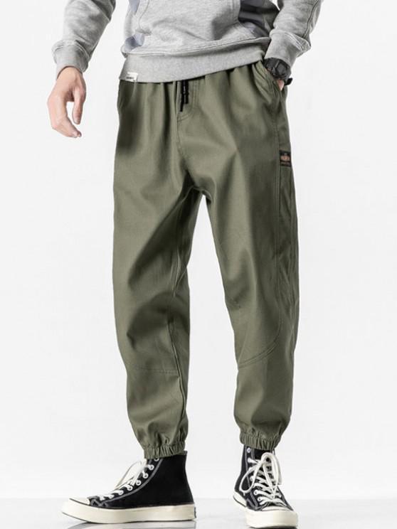 Letter Patched Beam Feet Pants - الجيش الأخضر XS