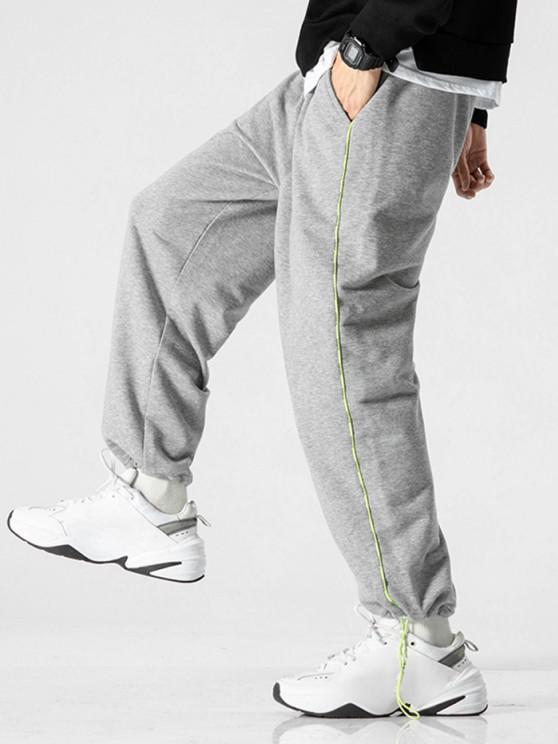 Pantalon de Jogging Rayé Contrasté - Gris Clair 3XL