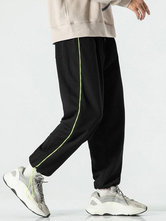 Pantalon de Jogging Rayé Contrasté - Noir L