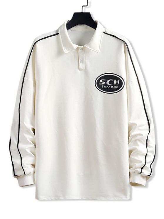 Sweat-shirt Pull-over Lettre Imprimée - Blanc M
