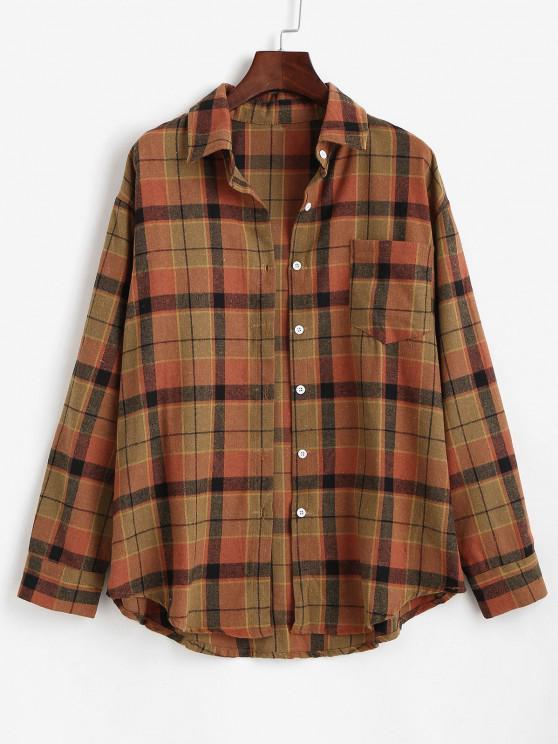 Plaid Front Pocket Flannel Shirt - قهوة XS