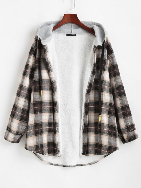 Manteau à Capuche à Carreaux Boutonné à Ourlet Courbe - Noir XL