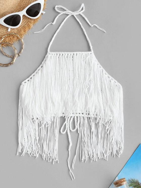 buy High Neck Crochet Fringed Bikini Top - WHITE ONE SIZE