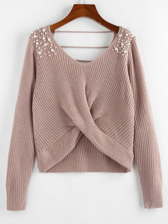 unique ZAFUL Beading Ladder Cut Twisted V Neck Sweater - LIGHT PINK S