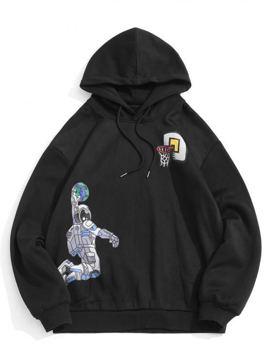 women Fleece Astronaut Playing Basketball Pattern Hoodie - BLACK 2XL